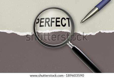 word perfect and magnifying glass on torn paper  made in 2d software - stock photo