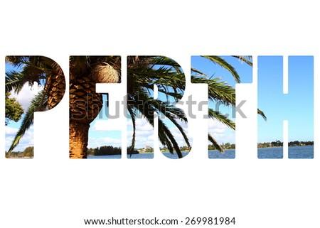 Word PERTH over city symbols. - stock photo