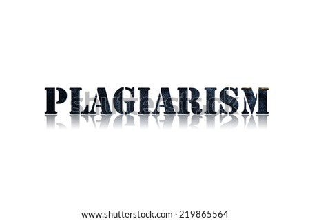 word PLAGIARISM  in white background - stock photo