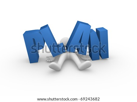Word plan dropped on a man - stock photo