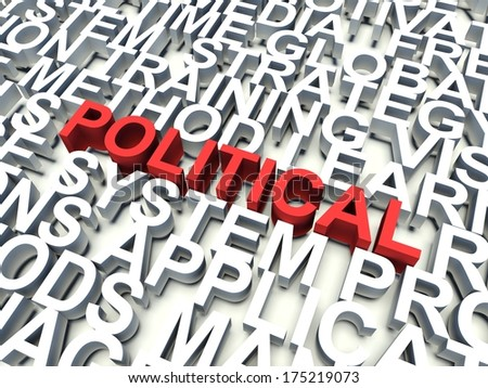 Word Political in red, salient among other related keywords concept in white. 3d render illustration.