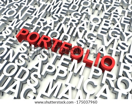 Word Portfolio in red, salient among other related keywords concept in white. 3d render illustration. - stock photo