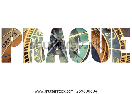 Word PRAGUE over city symbols. - stock photo