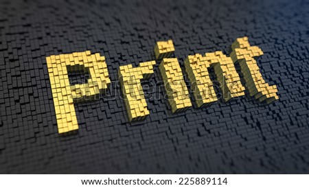 Word 'Print' of the yellow square pixels on a black matrix background. - stock photo