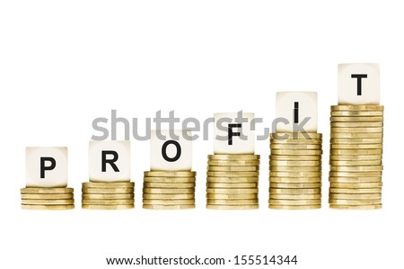 Word PROFIT on a Row of Gold Coin Stacks Isolated on White