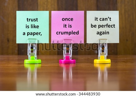Word Quotes Of TRUST IS LIKE A PAPER,ONCE IT IS CRUMPLED IT CANu0027
