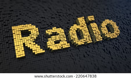 Word 'Radio' of the yellow square pixels on a black matrix background. Broadcasting header. - stock photo