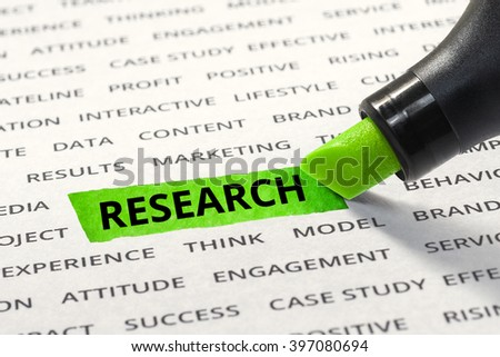 Word research highlighted with marker on paper of other related words. For direction of business strategy success concept - stock photo