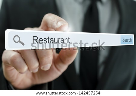 Word Restaurant written in search bar on virtual screen. - stock photo