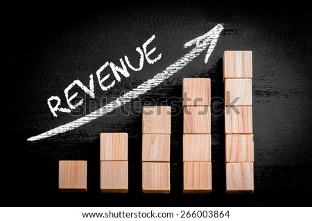 Word Revenue on ascending arrow above bar graph of Wooden small cubes isolated on black background. Chalk drawing on blackboard. Business Concept image. - stock photo