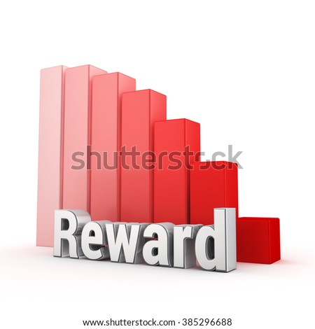 Word Reward against the red falling graph. 3D illustration picture - stock photo