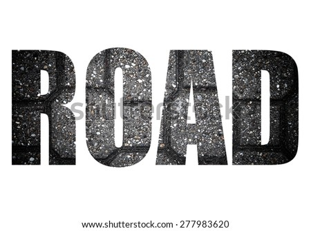 Word ROAD over Sidewalk tile made of natural stones. Background. Toned. - stock photo