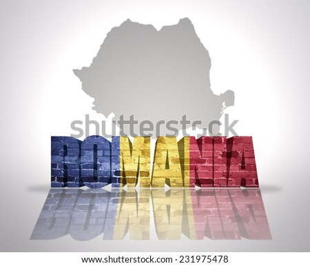 Word Romania with National Flag near map of Romania - stock photo