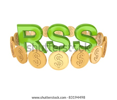 Word RSS and golden coins around. 3d rendered. Isolated on white background.