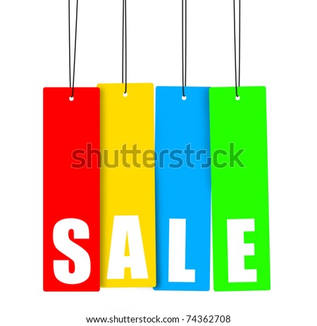 Word  SALE  on multicolor hanging tags, clipping paths included. - stock photo