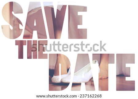 Word Save the Date over wedding background. - stock photo