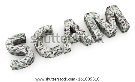 Word SCAM made from dollar banknotes on white background - stock photo