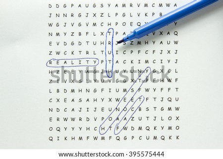 Word search puzzle with truth hidden in text circled with blue marker surrounded by supporting words.