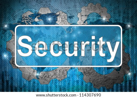 Word Security on network background - stock photo