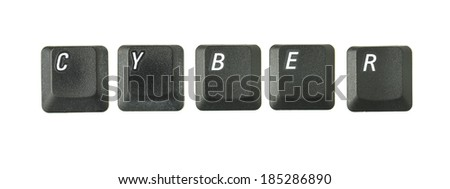 Word series from real keyboard keys depicting typical terms of reference connected to internet and IT topics. Shot overhead with soft shadows against a white background. - stock photo
