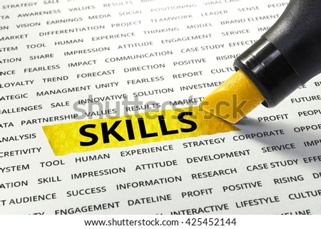 Word Skills highlighted with marker on paper of other related words.business success concept. - stock photo