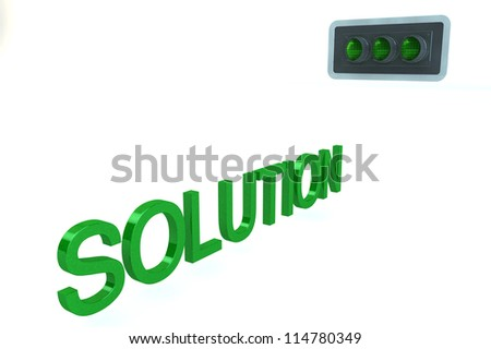 Word Solution Before GREEN Go Signal of traffic light isolated on a white background