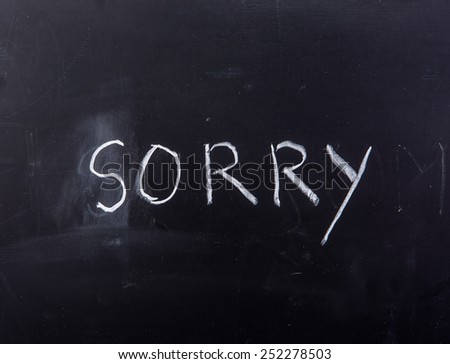 word sorry on blackboard