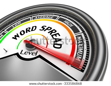 Word spread level to maximum conceptual meter, isolated on white background - stock photo