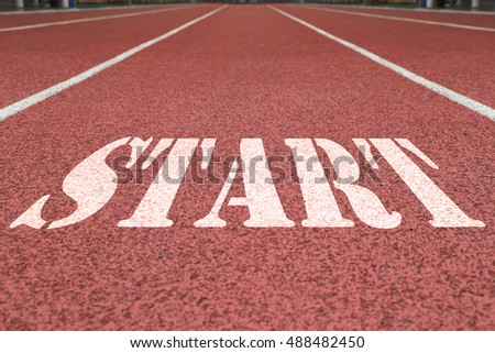 word start on the red running track