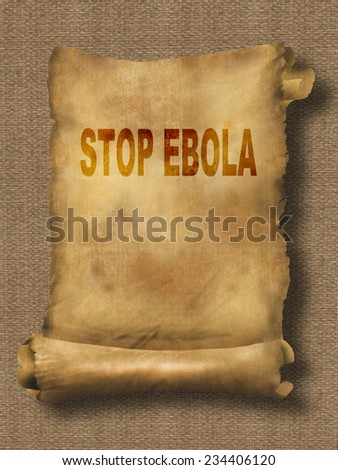 word  stop ebola on paper scroll made in 2d software