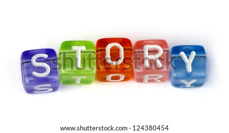 Word story. White isolated cubes - stock photo