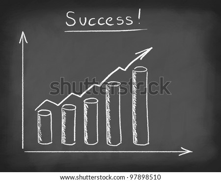 """Word """"Success"""" and diagram drawn with chalk on blackboard. - stock photo"""