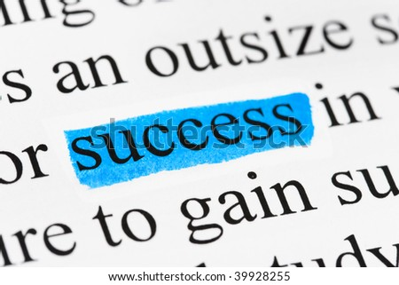 Word success in text - concept business background - stock photo