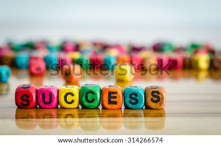 word success on colorful wooden cubes