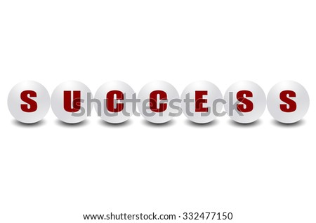 Word success on 3d sphere ball, white background