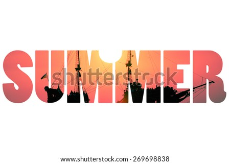 Word SUMMER over Boat on the sea at sunset  - stock photo