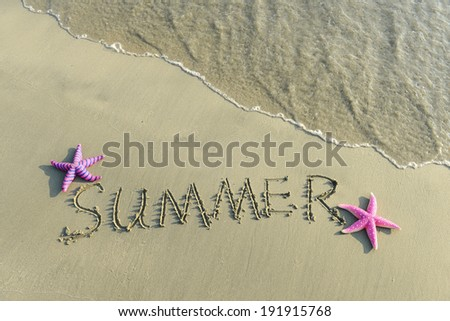 Word Summer Written in the Sand on a Beach - stock photo
