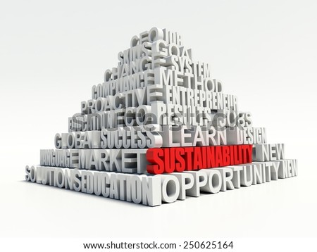 Word SUSTAINABILITY in red, salient among other related keywords concept in white pyramid. 3d render illustration - stock photo