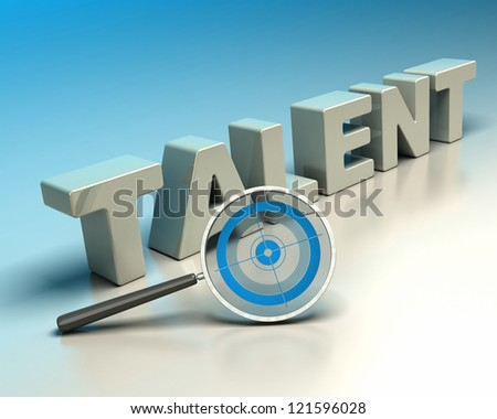 Word talent written with 3d letters onto a blue and beige background with a magnifier including a blue target. symbol of headhunter - stock photo