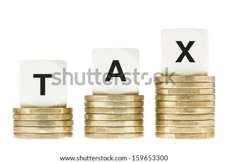 Word TAX on Gold Coin Stacks Isolated with White Background - stock photo