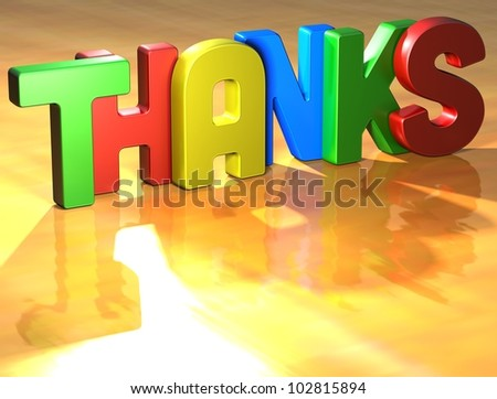 Word Thanks on yellow background (high resolution 3D image) - stock photo