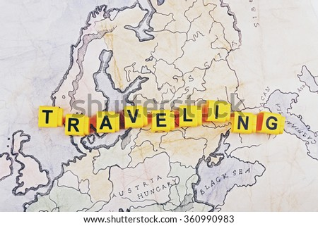 Word Traveling on world map background