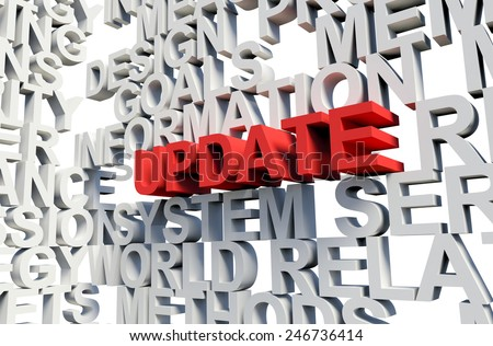 Word Update in red, salient among other related keywords concept in white. 3d render illustration. - stock photo