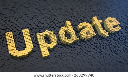 Word 'Update' of the yellow square pixels on a black matrix background. Software updating concept. - stock photo