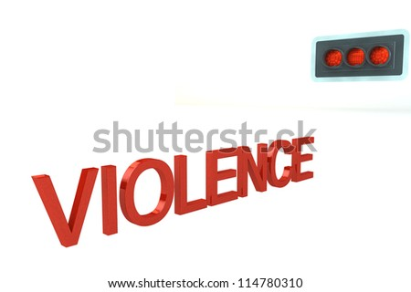 Word Violence Before Red Stop Signal of traffic light isolated on a white background - stock photo