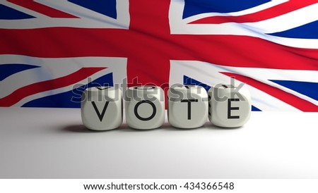 Word VOTE written on dices with United Kingdom (UK) flag in background, 3D render. - stock photo