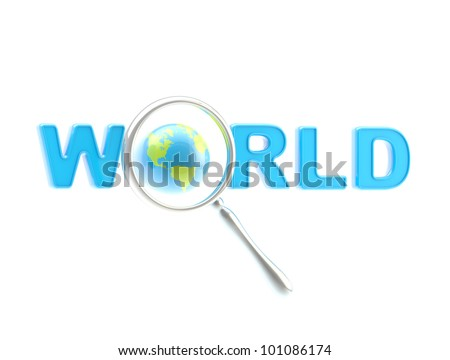 """Word """"world"""" under the magnifier isolated on white - stock photo"""