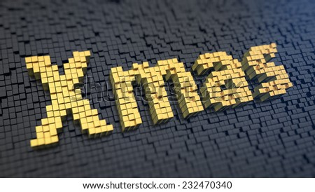 Word 'Xmas' of the yellow square pixels on a black matrix background - stock photo