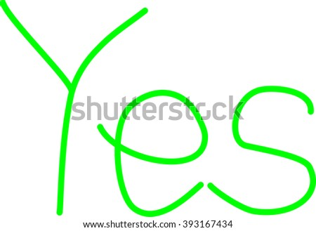 Word yes in green on white background