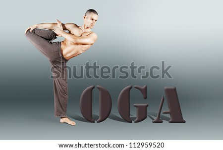 """Word """"YOGA"""" with man body in yoga pose - stock photo"""